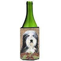 Caroline's Treasures SS4087LITERK Bearded Collie on Faux Burlap with Pine Cones Wine Bottle Koozie...