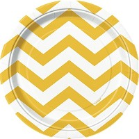 "Round Plates 7"" 8/Pkg-Sunflower Yellow Chevron (並行輸入品)"