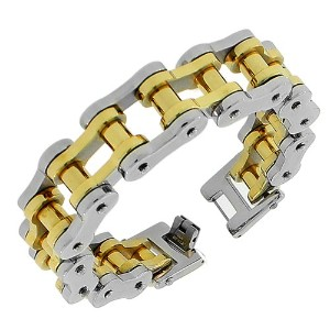 Stainless Steel Two-Tone Link Bike Chain Large Heavy Men's Bracelet