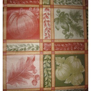 Pumpkins Fall Leaves Autumn Acorns Vinyl Tablecloth with Flannel Back (52x90 Inch) by Elrene