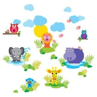 WallCandy Arts French Bull Wall Decals, Jungle [並行輸入品]
