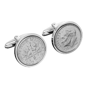 1985 Dime Coin Cufflinks – Great for 32 nd誕生日ギフト – 純正1985 USコインマウントin Polishedシルバーカフスボタン。魅力的な&耐久性...