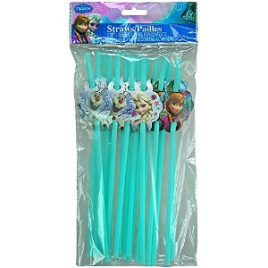 Disney Frozen disposable Straws Party with Elsa Anna & Olaf (18 straws per pack) by Disney