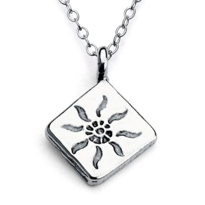925 Sterling Silver Shining Sun Diamond 2-sided Charm Pendant Necklace (14 Inches)
