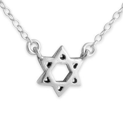 925 Sterling Silver Jewish Star of David Necklace with Jumper Chain (18 Inches)