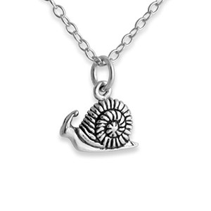925 Sterling Silver Snail Pendant Necklace (14 Inches)