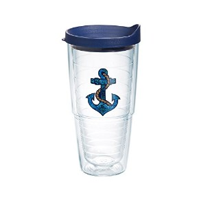 Tervis Sequins Anchor Emblem Bottle with Navy Lid, 24-Ounce, On The Water by Tervis