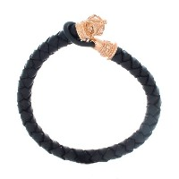 Rose Gold Plated Fleur De Lis Crown w/ Loop Clasp and Genuine Black Braided Leather Bracelet