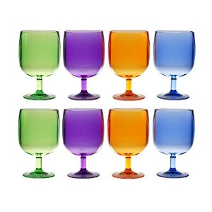 QG Set of 8 Colorful Stackable 12 oz Acrylic Plastic Tumbler Set in 4 Assorted Colors by QG