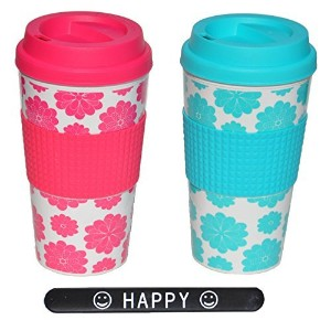 Set of 2 Hot Pink Turquoise Fun Double Walled Travel Mug with Lid and Sleeve by TheBDStore