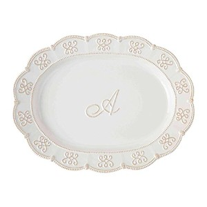 Mud Pie Initial Oval Platter A ホワイト 4071042A