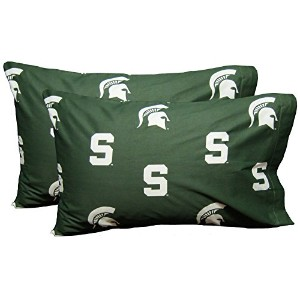 College Covers Michigan State Spartans枕カバーペア–ソリッド( Includes 2標準枕カバー)