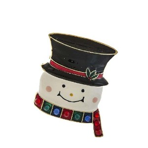 """Bejeweledクリスマス"""" Snowman withトップハット""""休日ピンブローチ587"""