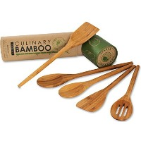 Viable Creations Handcrafted Bamboo Wooden Spoons with Cotton Muslin Bag - Set of 5 by Viable...