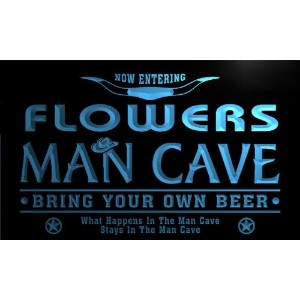 ネオンプレート サイン 電飾 看板 バー pb1399-b FLOWERS Man Cave Cowboys Bar Neon Light Sign