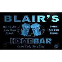 ネオンプレート サイン 電飾 看板 バー p747-b Blair's Home Bar Beer Family Last Name Neon Light Sign
