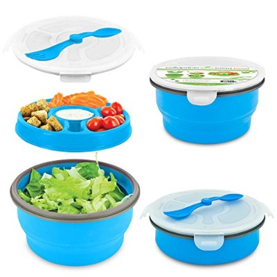 SmartPlanet Eco Collapsible Deluxe Salad Bowl Meal Kit in Blue by Smart Planet
