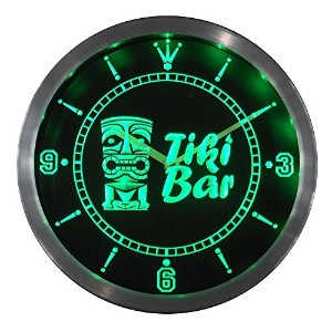 LEDネオンクロック 壁掛け時計 nc0294-g Tiki Bar Mask Beer Neon Sign LED Wall Clock