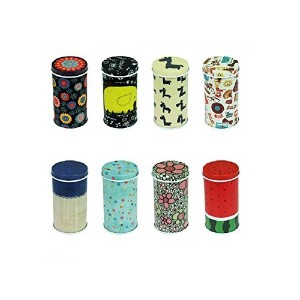 Graces Dawnテつョ Set of 8 Home Kitchen Storage Containers Colorful Tins Round Tea Tins by Graces Dawn