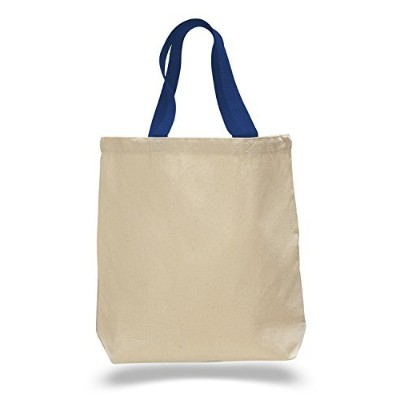 (Royal) - (Set of 12) 12 Pack- Wholesale Cotton Canvas Gusset and Contrasting Handles Tote Bag ...
