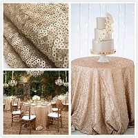 B-COOL 90'' Round Champagne blush Sequin Tablecloth by B-COOL