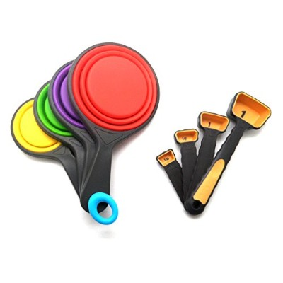8-piece Set, Collapsible Silicon Measuring Cups and Measuring Spoon Set