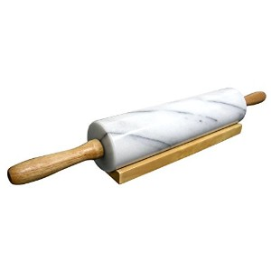 Cook N Home Marble Rolling Pin with Wood Base, 18, White by Cook N Home