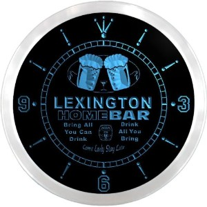 LEDネオンクロック 壁掛け時計 ncp2113-b LEXINGTON Home Bar Beer Pub LED Neon Sign Wall Clock