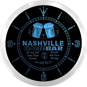LEDネオンクロック 壁掛け時計 ncp2075-b NASHVILLE Home Bar Beer Pub LED Neon Sign Wall Clock