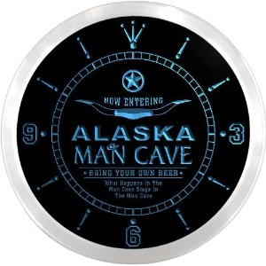 LEDネオンクロック 壁掛け時計 ncpb2002-b ALASKA Man Cave Cowboys Beer Pub LED Neon Sign Wall Clock