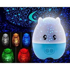 e-plaza LEDナイトライトBluetooth Lovely豚形状回転プロジェクターランプ5色変更とリモートコントロールfor Kids Sleeping Lovers (青)