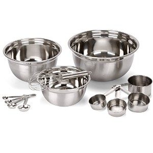 Estilo 12 Piece Stainless Steel Mixing Bowls, Includes Measuring Cups, Measuring Spoons And Barrel...