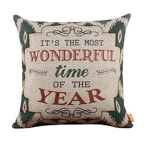 LINKWELL 18x18 Shabby Chic American Style Ikat Happy New Year Burlap Cushion Covers Pillow Case by...
