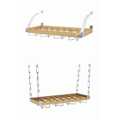 Concept Housewares WR-40528 Solid-Wood Ceiling/Wall-Mount Wine Rack, Natural, 8 Bottle by Concept...