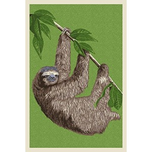 Three Toed Sloth – 活版 9 x 12 Art Print LANT-56973-9x12