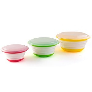 Fasmov Silicone Collapsible Storage Bowls with Lids-Set of 3 by Fasmov