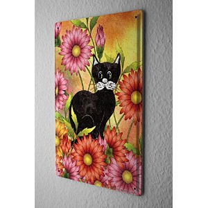Tin Sign ブリキ看板 Cat Decoration black cat in the middle of red flowers Metal Plate