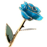 (Light Blue) - ZJchao love forever Long Stem Dipped 24k Gold Foil Trim Rose, Best Gift for...