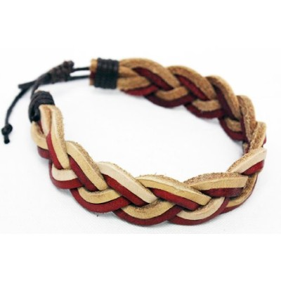 WILL LEATHER GOODS ウィルレザーグッズ FORRESTER MULTITONE BRAIDED CUFF (NATURAL / TAN) (RED)
