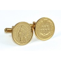 24 KゴールドLayered Indian Head Coin Cuff Links