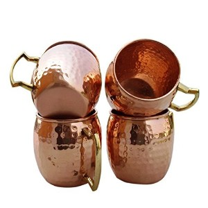 Moscow Mule Mug set of 4- Handmade of Pure Copper, Brass Handle Hammered / Cup. (4) by Rastogi...