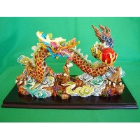 Colorful Dragon Statue Chasing Fire Ball