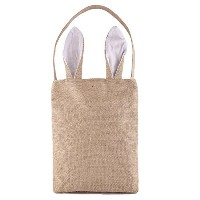Easter Bunny Bags, PJS-MAX Dual Layer Bunny Ears Design Jute Cloth Material Easter Bags Carrying...