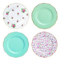 Royal Albert New Country Roses Tea Party Mixed Patterns Accent Plates (Set of 4), 8, Multicolor by...