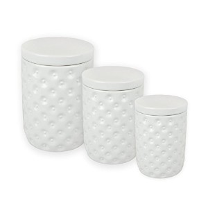 DII Everyday Classis Kitchen Design 3-Piece Ceramic Nested Canisters For Sugar, Coffee, & Tea - White by Design Imports India
