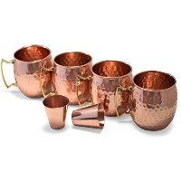 Owl Creek Handmade Moscow Mule 100% Copper Mugs Set of Four 18 oz Hammered Cups With Two Bonus 2 oz...