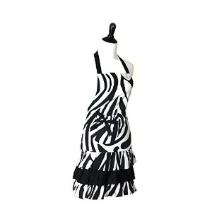 Flirty Aprons Women's Marilyn Apron, Zebra by Flirty Aprons [並行輸入品]