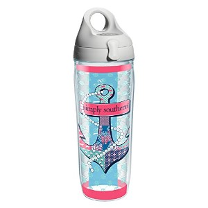 Tervis 1212058 Simply Southern Anchor And Pearls Wrap Water Bottle with Grey Water Bath Lid, 24 oz,...