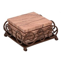 Thirstystone GG6-H50 Sandstone Coasters with Wrought Iron Holder Included, Multicolor by Thirstyston...