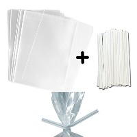 100 3x4 Clear Food Safe Favor Treat Bags and 100 4 Paper Twist Ties - 1.5mils Thickness- PP Plastic...